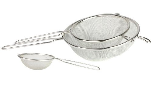 "Set of 3 – All Purpose Stainless Steel Fine Mesh Strainer Colander Sieve with Handle, 3¾"", 5 ¼"", 7″"