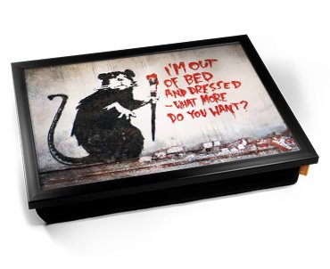 Banksy Out of Bed Rat Cushion