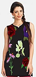 Snoogg Vector Flowers Printed Womens Casual Short Kurti