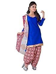 blue colour cotton material Salwar Kameez straight suit