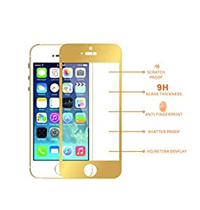 MDN SCRATCH RESISTANT Ultra sensitive Anti Fingerprint 9H - 0.4mm Tempered Premium Glass Screen Protector for Iphone 5/5S/5C - Gold