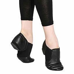 Womens Jazz Ballet Genuine Leather Shoes Split Sole Slip On Black 41#