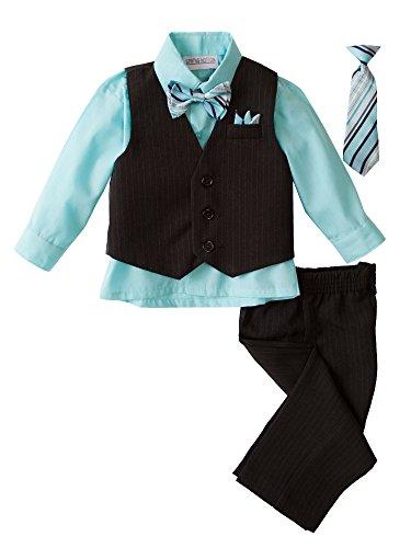 Spring Notion Baby Boys' 5 Piece Pinstriped Vest Set Aqua 12 Months