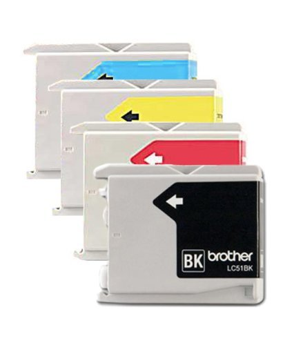 Genuine Brother LC51 (LC-51) Color (Bk/C/M/Y) Ink Cartridge 4-pack (LC51BK, LC51C, LC51M, LC51Y) for Brother DCP-130C, DCP-330C, DCP-350C, IntelliFax-1360, IntelliFax-1860C, IntelliFax-1960C, IntelliFax-2480C, IntelliFax-2580C, MFC-230C, MFC-240C, MFC-3360C, MFC-440CN, MFC-465CN, MFC-5460CN, MFC-5860CN, MFC-665CW, MFC-685CW, MFC-845CW, MFC-885CW (Brother Mfc 665cw Ink compare prices)