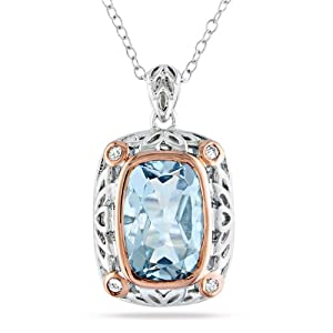 Sterling Silver, Pink Rhodium Plated, Diamond and Blue Topaz Pendant with Chain, (.1 cttw, GH Color, I3 Clarity), 18""