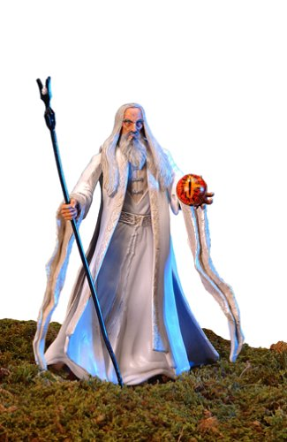 Lord of the Rings: Two Towers - Saruman the White Action Figure (Staff-Raising Action and Eye of Magnetic Palantir) (Saruman Action Figure compare prices)