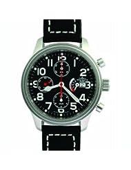 Zeno Men's New Pilot Classic Flieger Tri-Compax Classic Power Reserve Chronograph # 9553 TVD PR-BK