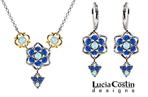 .925 Sterling Silver with 24K Yellow Gold over .925 Sterling Silver Jewelry Set: Necklace and Earrings by Lucia Costin with Light Blue, Blue Swarovski Crystals and 3 Stones Dangle, Garnished with Twisted Lines; Handmade in USA