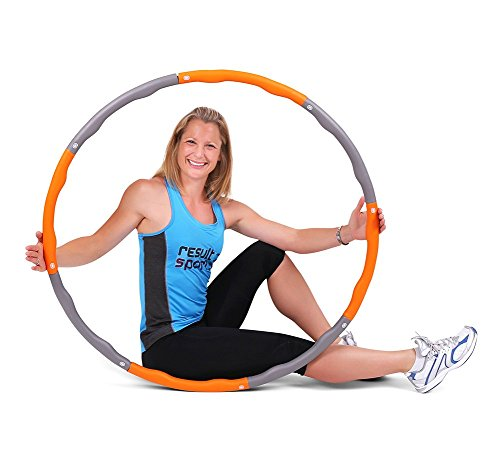 ResultSport Level 2 Wave Weighted 1.5kgs (3.30lbs) Fitness Exercise Hula Hoop - Orange/Grey
