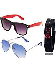 BLACK RED WAYFARER SUNGLASSES AND SILVER LIGHT BLUE AVIATOR SUNGLASSES WITH TPU BAND RED LED DIGITAL BLACK DIAL...