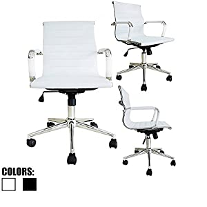 2xhome - White or Black - Modern Mid Back Ribbed PU leather with wheels arms Arm Rest w/Tilt Adjustable seat Designer Boss Executive Office Chair Work Task Computer Executive Arms Large Chrome Heavy-Duty Base Swivel Furniture for Conference Room Reception