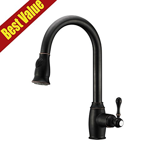 Avola Solid Brass Single Handle High Swivel Spout Kitchen Sink Faucet , Oil Rubbed Bronze Pull Out Sprayer Kitchen Mixer Faucet (Kitchen Faucet Black Sprayer compare prices)