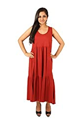 INDRICKA Red colour 100% Organic Cotton Dress for womens.