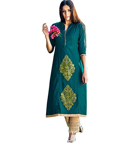 Paisley Patch Embroidered Faux Cotton Semi Party Wear Teal Green Colour Kurtas/Kurtis K-190