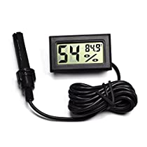 iCoolhot Pet Products Mini LCD Digital 2-in-1 Terrarium Reptile Thermometer Hygrometer With Probe