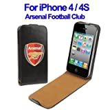 ARSENAL FOOTBALL CLUB GENUINE BLACK LEATHER FLIP CASE FOR APPLE IPHONE 4 / 4S