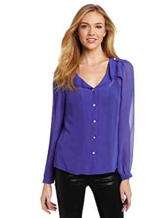 Blue Juice Women's Frill Collar Blouse, Cobalt, Medium
