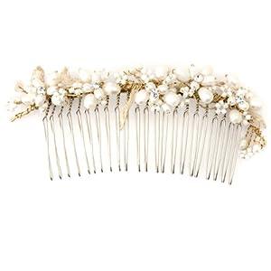 Bardot's Pearl Hair Comb - Gold