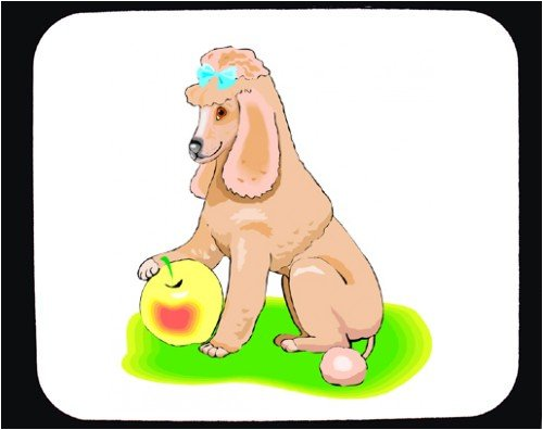 Decorated Mouse Pad with apple, poodle, dog, blanket