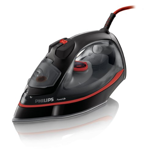 Philips GC2965/80 PowerLife Steam Iron, 300 ml, 2400 Watt - Black/ Red