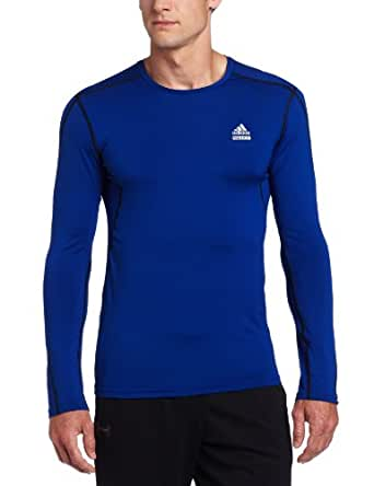 adidas Men's Techfit Fitted Long-Sleeve Top (Collegiate Royal, Small)
