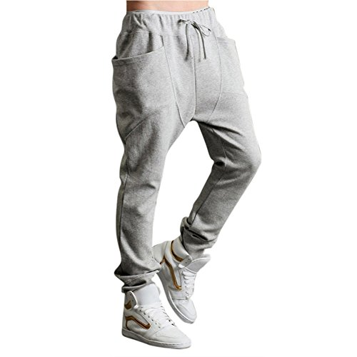 TOOGOO(R)Uomo donna Pantaloni Harem Casual Hip Hpo Danza Pantaloni tubo ( Grigio chairo ) - M