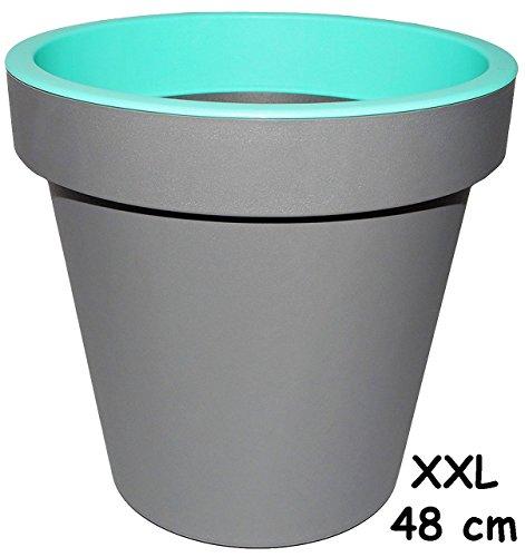 1-Stck--Design-XXL-48-cm-groer-Blumentopf-Pflanzkbel-grau-NEON-trkis-blau-mint-grn-GROSS-Kunststoffkbel-bertopf-STAPELBAR-Blumenkbel-aus-hochwertigen-Kunststoff-zB-Krutergarten-Kasten-Topf-Blumen-Gart