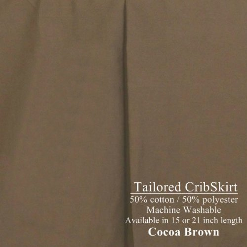 "15"" long Tailored CribSkirt Crib Dust Ruffle Cocoa Brown"