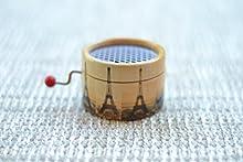 Caja de música manual redonda Torre Eiffel con el Vals de Amelie