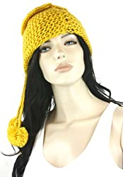 Hot Mustard Versatile Knitted Tube Cowl Scarf and Hat