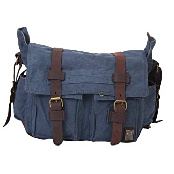 2014 Multi-Function Vintage Canvas Large Women Men Unisex Messenger Shoulder Bag Leather Trim School Military Shoulder Bag Messenger Bag (Blue)