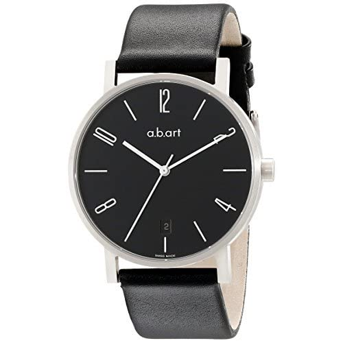 時計 a.b. art エービーアート Men's O107 Series O Stainless Steel Swiss Quartz Black Dial and Leather Strap Watch メンズ 男性用 [並行輸入品]