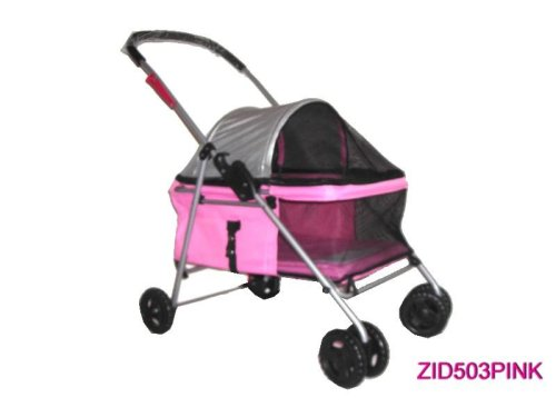 Pet Dog Cat Bed Stroller Carrier Pink 503