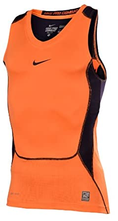 Nike Mens Combat Elite Hypercool Compression Basketball Shirt-Orange by Nike