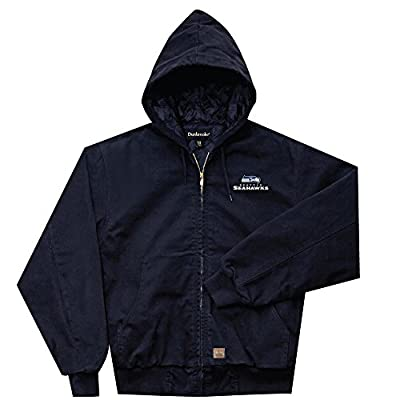 NFL Seattle Seahawks Cumberland Canvas Quilt Lined Hooded Jacket, Navy, XX-Large