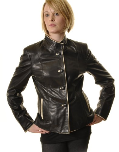 Womens Leather Short Button Up Jacket : Black : SR090 16