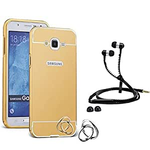 Droit Luxury Metal Bumper + Acrylic Mirror Back Cover Case For + Samsung J5 Stylish Zipper Handfree and Good QualitySound by Droit Store.