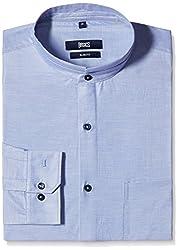 Basics Men's Formal Shirt (8907054861767_15BSH33161_Small_Blue)