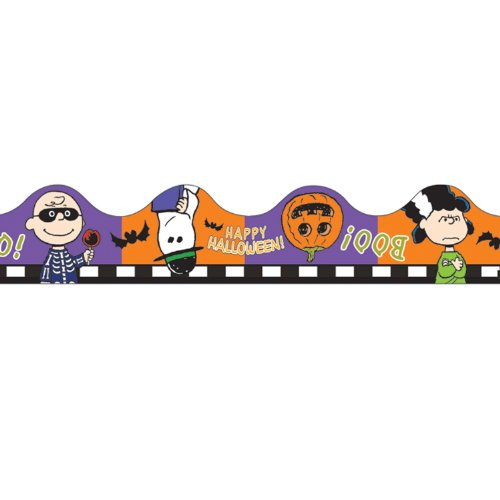 Eureka Peanuts Halloween Scalloped Deco Trim, Set of 12 Reusable Strips - 1
