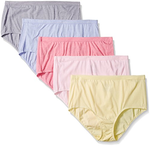 Fruit Of The Loom Women's Plus-Size 5 Pack Fit For Me Beyond Soft Brief, Assorted, 3X/11