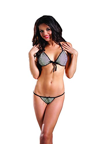 Raveware Lingerie Women's Glow In The Dark Tri Top and G with Fishnet, White/Black, One Size