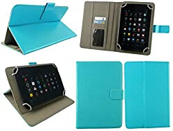 Emartbuy® Tescom Bolt 3G Tablet 7 Inch Universal Range Turquoise Multi Angle Executive Folio Wallet Case Cover With Card Slots + Turquoise Stylus