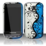 Samsung Transform Ultra M930 Accessory - Blue / Silver Vine Flower Design Protective Hard Case Cover for Sprint / Boost Mobile