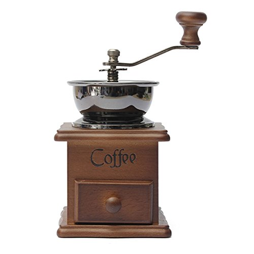 Purchase Aisster(TM) Manual Coffee Bean Hand Grinder Spice Herbs Vintage Style Wooden Retro Burr Mil...
