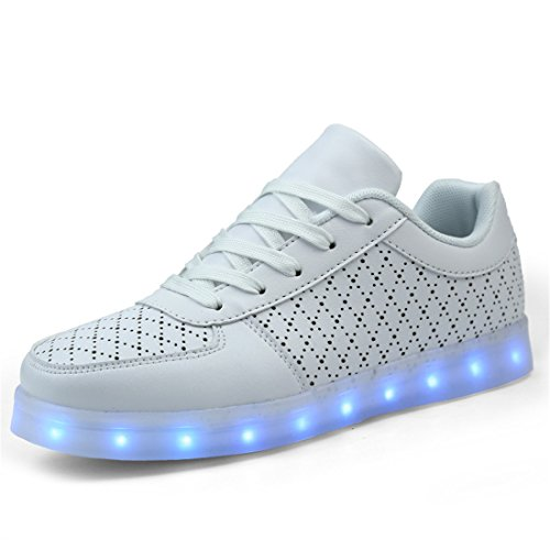 DoGeek-Unisex-Hombres-Mujeres-7-colores-Light-Up-LED-Zapatos-Blanco-Negro-mejor-pedir-una-talla-ms