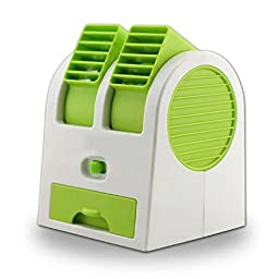 Generic Portable Battery USB Air Conditioner Fan Green