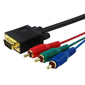 Cables4PC A12495 Gold Plated 6-Feet VGA/HD15/RGB to 3 RGB Component for TV/HDTV Cable