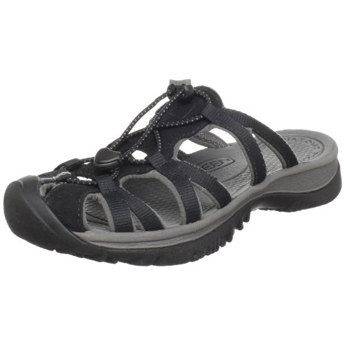 Keen Women's Whisper Slide Sandal,Black/Gargoyle,6.5 M US