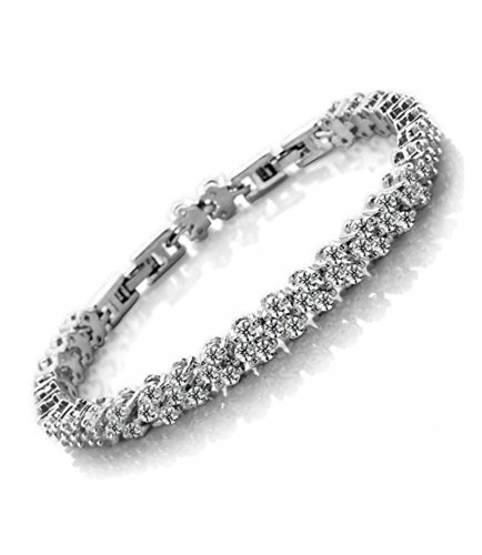 Celebrity Jewellery Pave Clear Swarovski Elements Crystal White Gold Plated Bracelet for Women