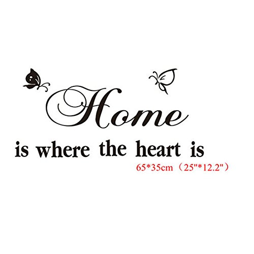 home is where the heart is englische spr che schmetterlingen wandsticker wandbild wandtattoo. Black Bedroom Furniture Sets. Home Design Ideas